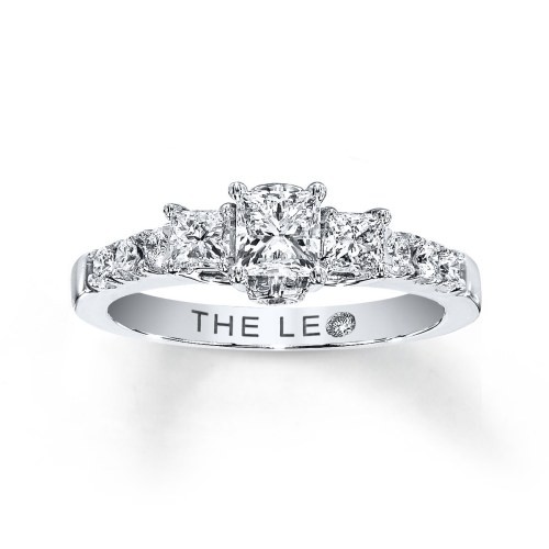 LEO ENGAGEMENT RING 7/8 CT TW DIAMONDS 14K WHITE GOLD