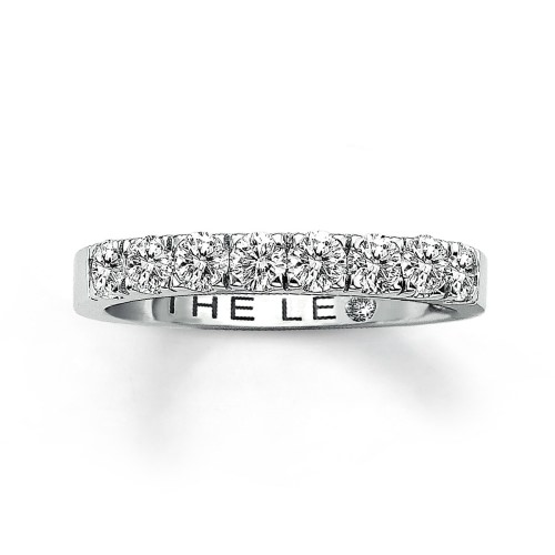 LEO ANNIVERSARY BAND 3/4 CT TW ROUND-CUT 14K WHITE GOLD