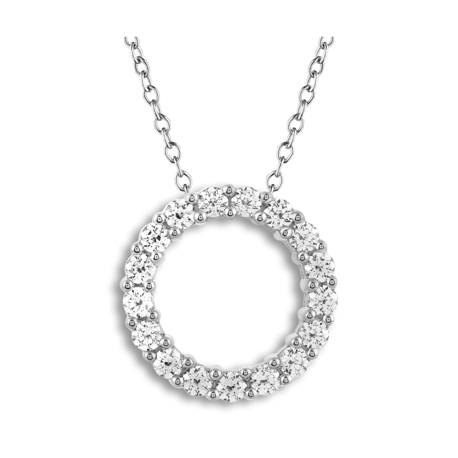 The collection the leo diamond leo diamond circle necklace 1 ct tw round cut 14k white gold aloadofball Gallery