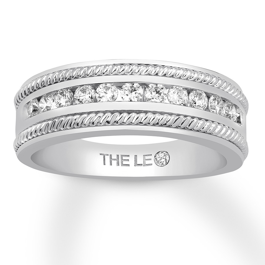 Leo Diamond Men's Band 5/8 ct tw Round-cut 14K White Gold