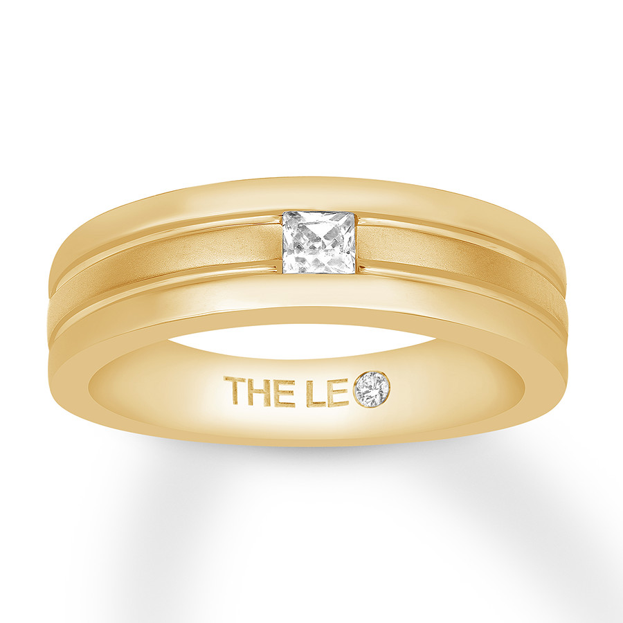 Leo Diamond Men's Wedding Band 1/4 Carat Square 14K Yellow Gold