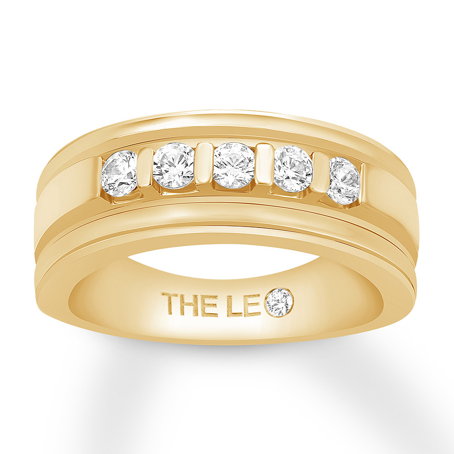 Leo Diamond Men's Wedding Band 5/8 ct tw Round 14K Yellow Gold