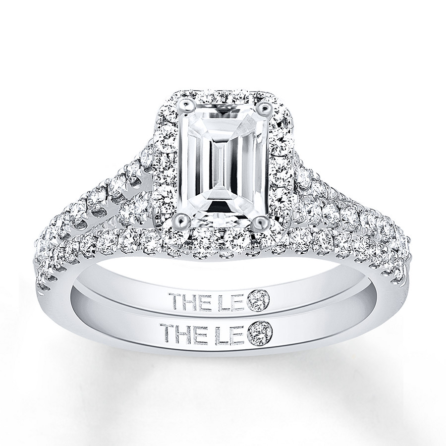 Leo Bridal Set 1-1/5 ct tw Diamonds 14K White Gold