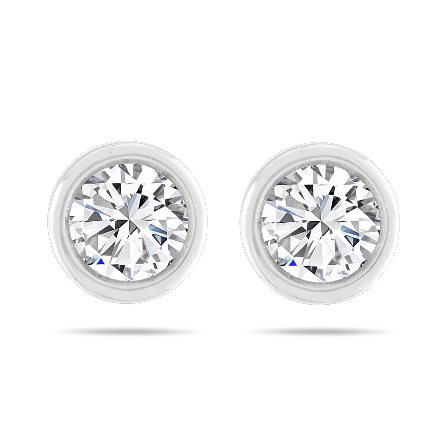 Leo Diamond Solitaire Earrings 5/8 ct tw Bezel 14K White Gold