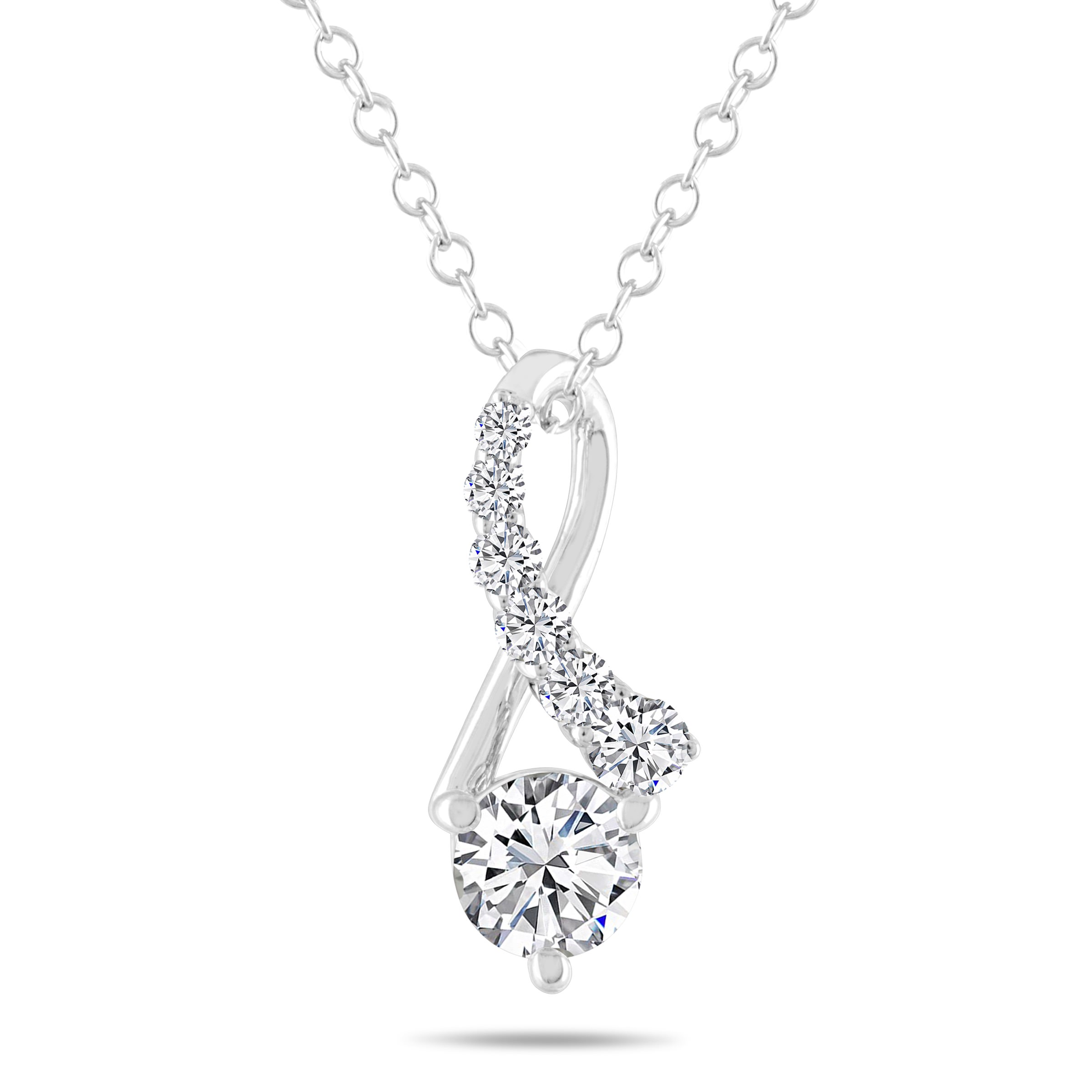 Leo Diamond Necklace 5/8 ct tw Round-cut 14K White Gold 19″