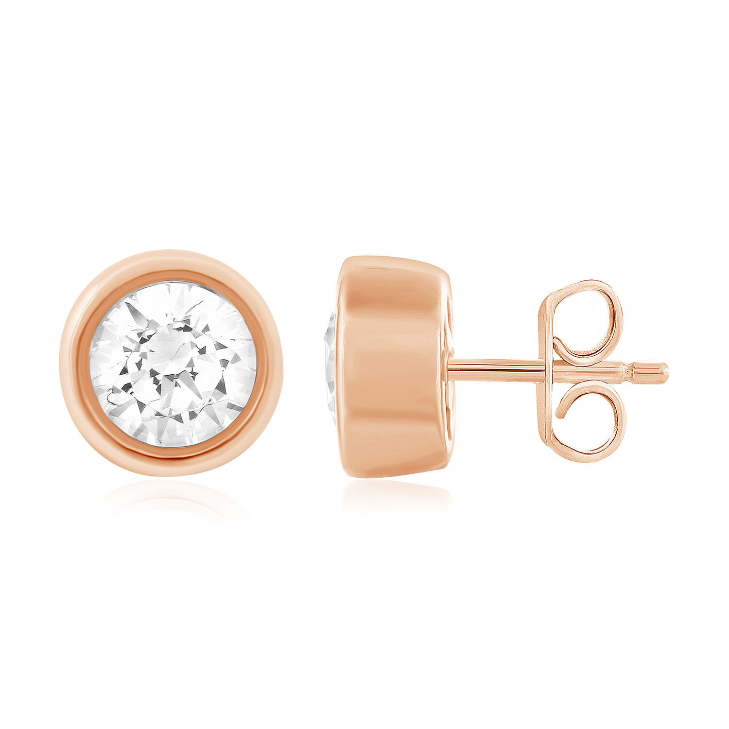 Leo Diamond Solitaire Earrings 5/8 cttw Bezel-set 14K Rose Gold