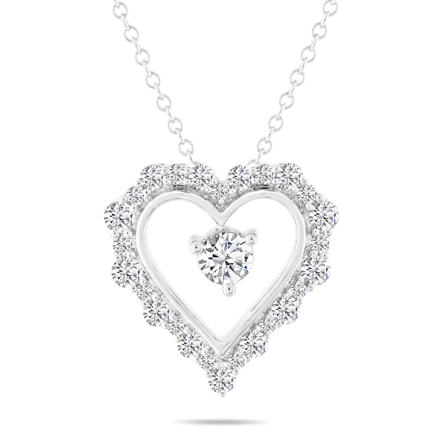 Leo Diamond Heart Necklace 1 ct tw Round-cut 14K White Gold 19″