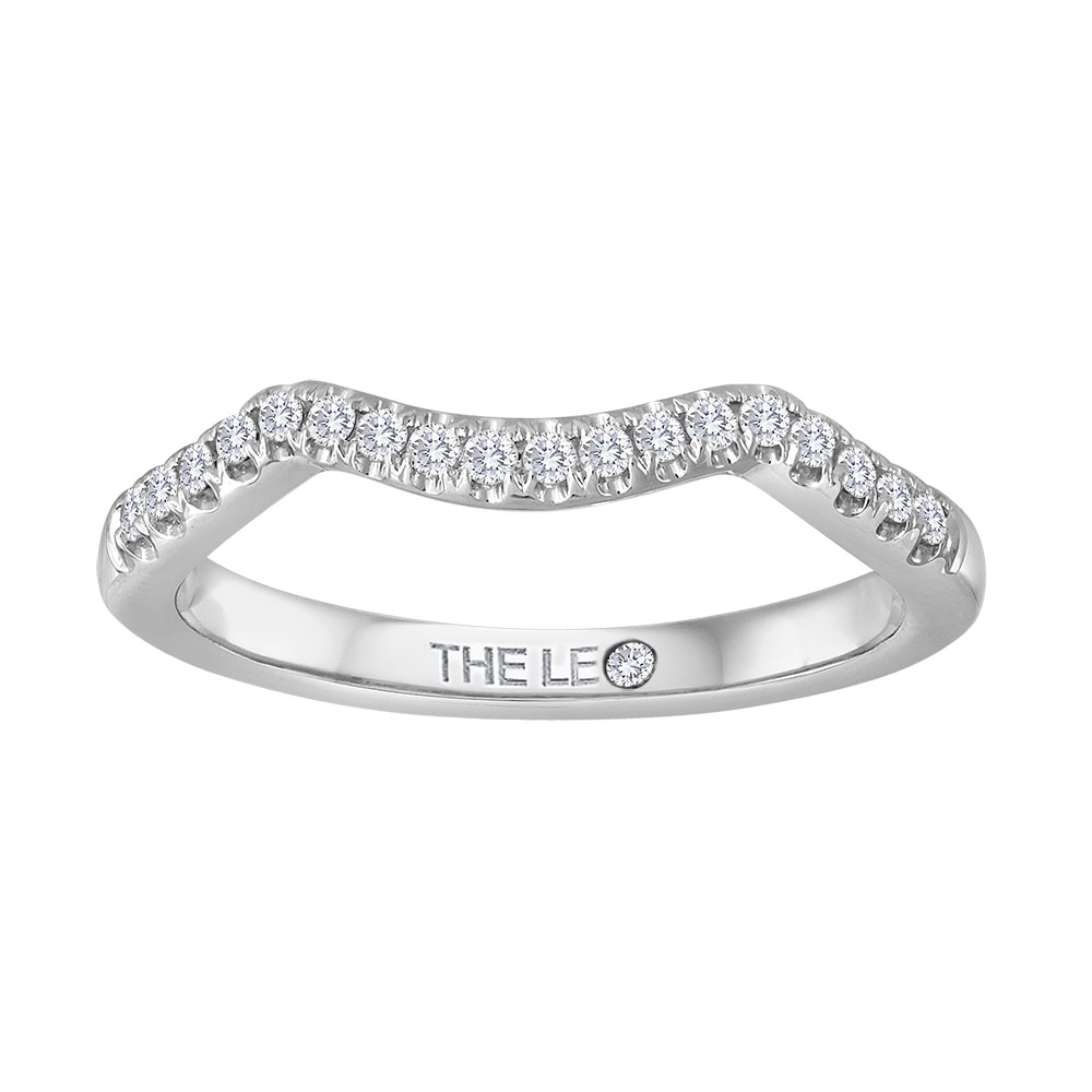 Leo Wedding Band 1/6 ct tw Diamonds 14K White Gold