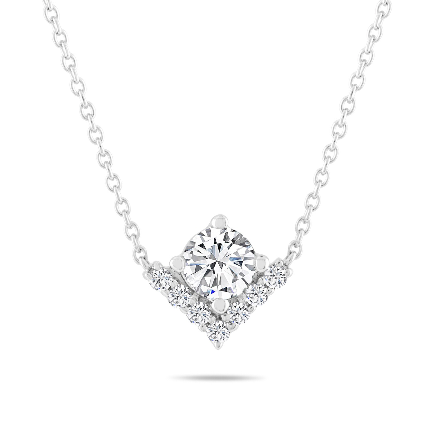 Leo Diamond Necklace 3/4 ct tw Round-cut 14K White Gold 19.5″